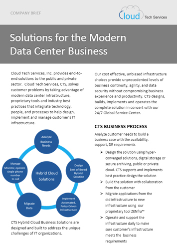 Cloud Tech Services, CTS, Solves Customer Problems By Taking Advantage Of  Modern Data Center Infrastructure, Proprietary Tools And Industry ...
